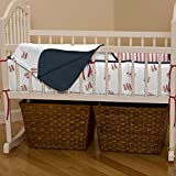 Carousel Designs Red and Navy Baseball Cradle Bumper