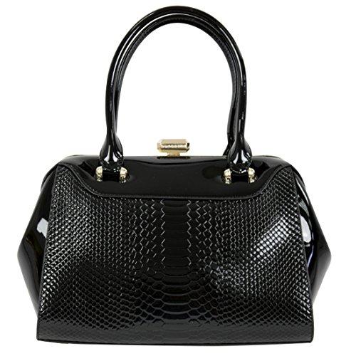 Seints Elegante bolso de charol negro con una parte grabada y otra lisa