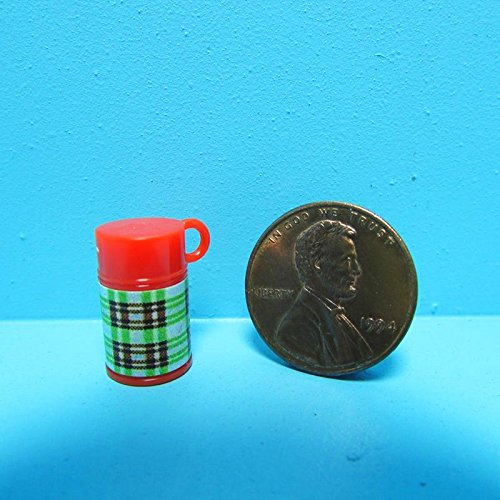 Dollhouse Miniature Thermos in Green Plaid FAG - My Mini Fairy Garden Dollhouse Accessories for Outdoor or House Decor by New Miniature