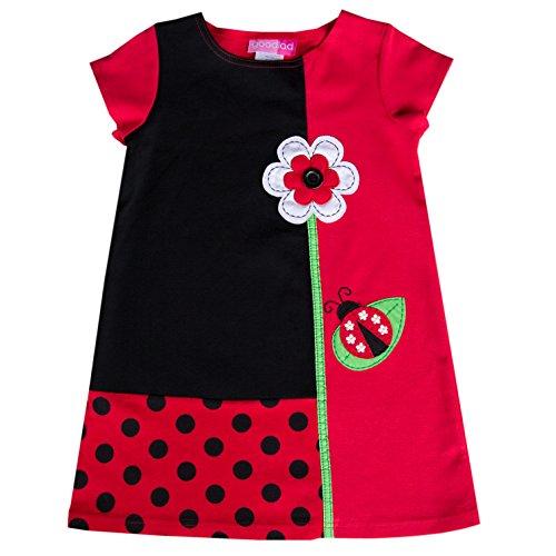 Good Lad 2/6X Girls Red Ponte Knit Dress with Ladybug Applique (Ladybug Dress For Toddler)