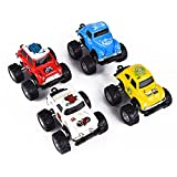 Jellydog Toy  Pull Back Cars, 4WD Pull Back Monster Trucks, Big Foot Pull Back Vehicles, Metal Friction Powered Monster Jam Cars, 1:64 Scale Party Favor Toy for Kids