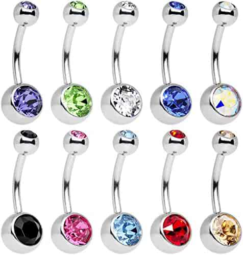 Body Candy 10 Piece Stainless Steel Assorted Colors Belly Ring Pack Created with Swarovski Crystals