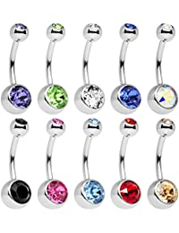 10 Piece Stainless Steel Assorted Colors Belly Ring Pack Created with Swarovski Crystals