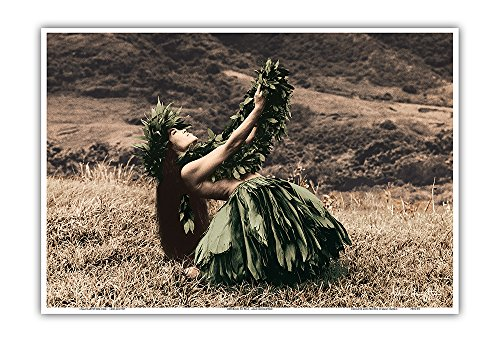 (Pacifica Island Art Offering to Pele - Hawaiian Hula Dancer - Original Hand Colored Photograph by Alan Houghton - Hawaiian Master Art Print - 13 x 19in)