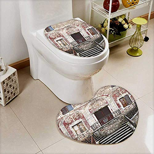 (L-QN U-Shaped Toilet Mat Collection Rustic Window Old Wooden Shutter Clay Flower Pot Image Accessories 2 Pieces Microfiber Soft)