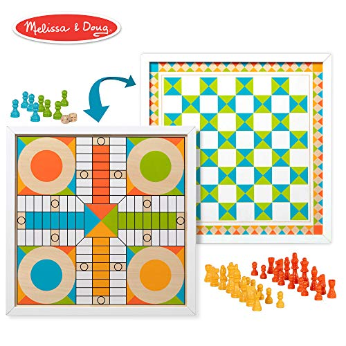 Melissa & Doug Double-Sided Wooden Chess & Pachisi for sale  Delivered anywhere in USA
