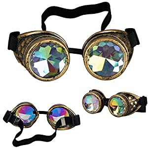 FIRSTLIKE Rainbow Kaleidoscope Goggles Victoria Clothing Steam Punk Accessories Laser
