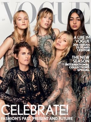 Vogue UK Magazine (September, 2017) Nora Attal, Edie Campbell, Jean Campbell, Kate Moss and Stella Tennant - Vogue Moss Kate