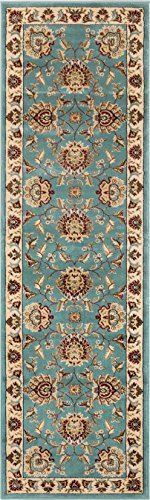 Elements Runner Rug - Well Woven Timeless Abbasi Light Blue Traditional Area Rug 2'7