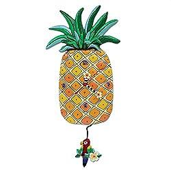 Allen Designs Island Time Whimsical Pineapple Pendulum Wall Clock