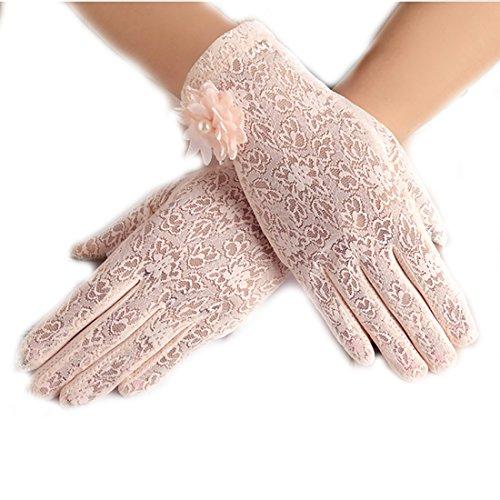 URSFUR Damen Schöne Hochwertige Spitze Sommer Sonnenschutz Handschuhe Netzhandschuhe spitzenhandschuhe Brauthandtuche