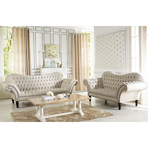 Baxton Studio Bostwick Linen Classic Victorian Sofa Set,