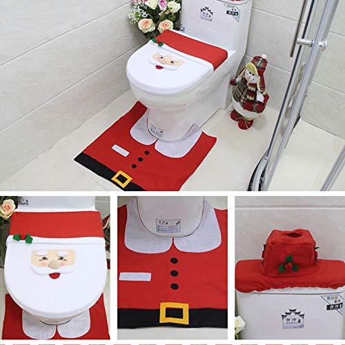 Yissma Bagni di Natale coprisedili per WC coprisedili per WC Set tappetini per WC Copriwater per WC Decorazioni Natalizie per WC