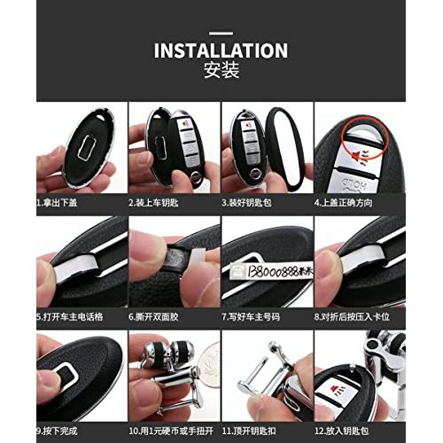 Black Car Remote Leather Keyless Case FOB Cover Shell Fit For Nissan Altima
