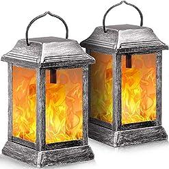 Garden and Outdoor TomCare Solar Lights Metal Flickering Flame Solar Lantern Hanging Lanterns Outdoor Decorative Lighting Heavy Duty Solar… outdoor lighting