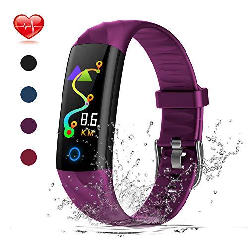 Warmwave Fitness Tracker, Slim Activity Tracker Heart Rate Monitor, IP68 Waterproof Step Counter, Calorie Counter, Pedometer Kids Women Men (Purple)