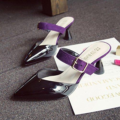 Amarre Tacón Mitad GAOLIM Zapatos El Zapatillas Butt Pintura Mitad Tacón Cool 54803d