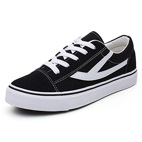 Womens Black Canvas Lace Up Style Skate Shoes Walking Comfortable Low Top Fashion Sneakers - Size 8