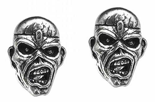 (Iron Maiden Stud Earrings Piece Of Mind Eddie Band Logo Official Metallic )