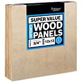 Artlicious 12x12 Super Value Wood Panel Boards for Artist Painting 4 Pack - 3/4'' Standard Profile