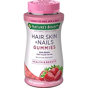 Gut Health Shop 51hU1ddQBIL._SS300_ Hair, Skin, and Nails with Biotin by Nature's Bounty Optimal Solutions, Multivitamin Supplement, Strawberry Gummies…