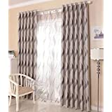 LQF Home Fashion Extra Wide Width Thermal Insulated Blackout Curtain Room Darkening Stripe Plaid Checkered Window Curtains Panels (One Panel) , Grey, W75 by L96 inch
