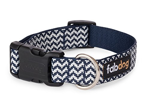 fabdog Chevron Stripe Dog Collar Navy (Small)