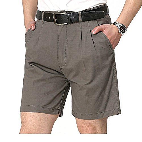 (IVANNIE Men's Comfort Classic Chino Style Pleat Twill Short Dark Grey 40)