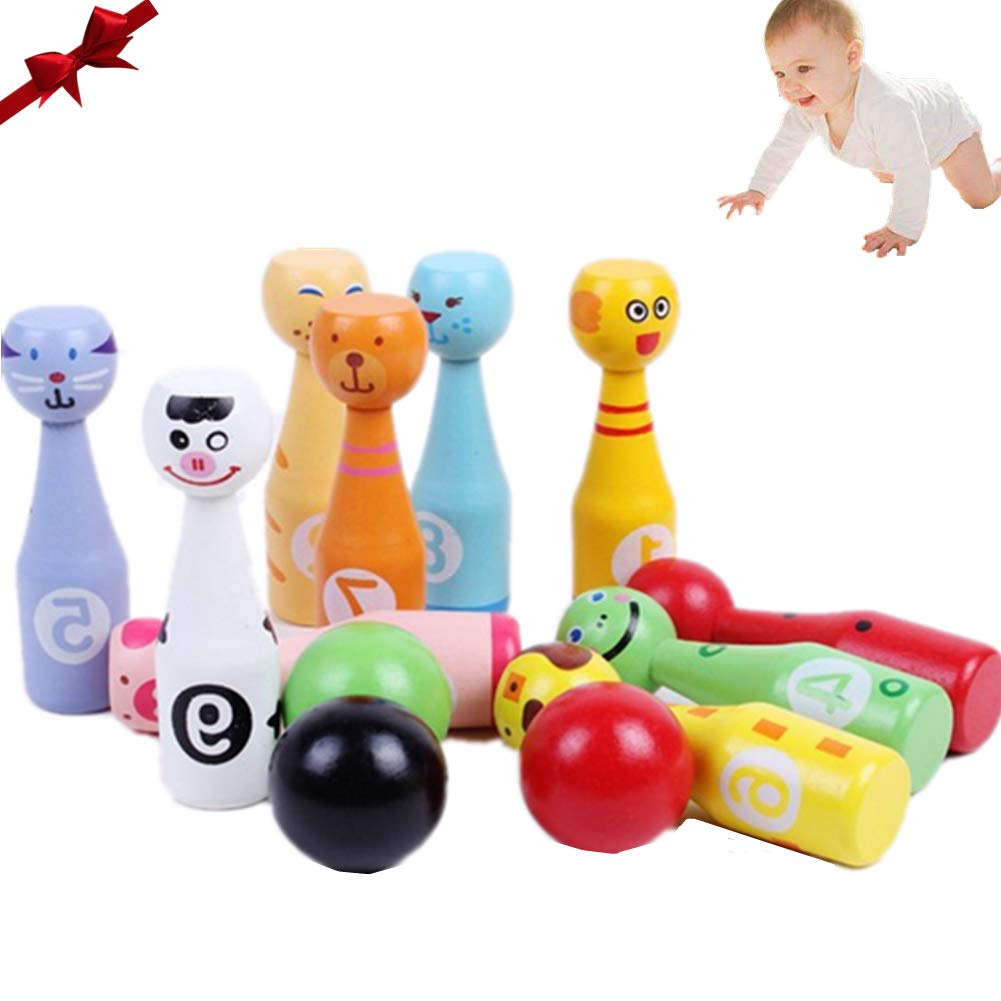 Dqtye Mini Wooden Bowling Set Kids Colorful Wood Skittles Game With 10 Animal Faces Pins 3 Balls Educational Toys For Toddlers Children