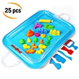 Sand Molds and Tools Kit + Sand Tray, Magic Molding Play Sand Toys for Kids - For Kinetic Sand, CoolSand, and other Molding Sand