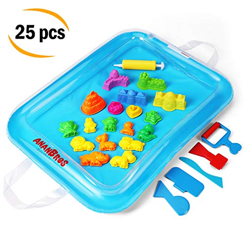 Kids Sand Tray Accessories - Sand Molds and Tools Kit + Sand Tray, Magic Molding Play Sand Toys for Kids - For Kinetic Sand, CoolSand, and other Molding Sand