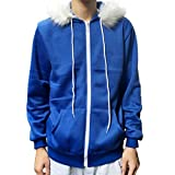 Men Women Sans Cosplay Blue Jacket Plush Hooded Coat Sans Costume Hoodie Jacket Coat Cos Jacket Sweatshirts (S, Blue)
