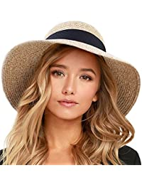 fa8bab97 Womens Beach Sun Straw Hat UV UPF50 Travel Foldable Brim Summer UV Hat