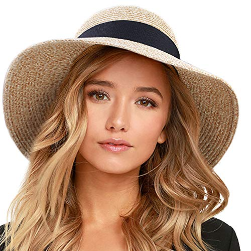 FURTALK Womens Beach Sun Straw Hat UV UPF50 Travel Foldable Brim Summer UV Hat (Medium Size (21.8-22.4), Mixed Beige)