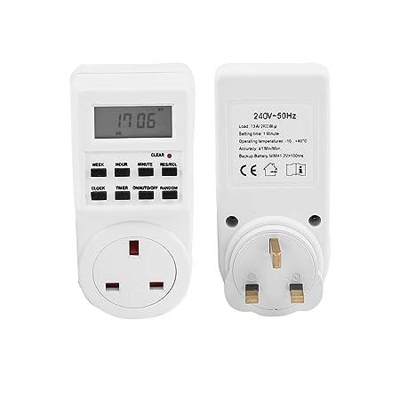 sourcing map Digital Timer Plug Switch 12/24 Hour 7 Day Socket ...