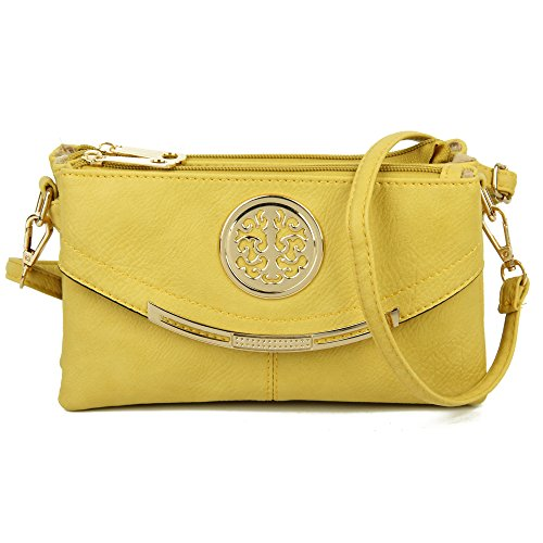 Craze London NEW Womens Small Clutch Bags with Wristlet and Long Adjustable Strap,Adjustable strap With Purse or small Shoulder bag Yellow