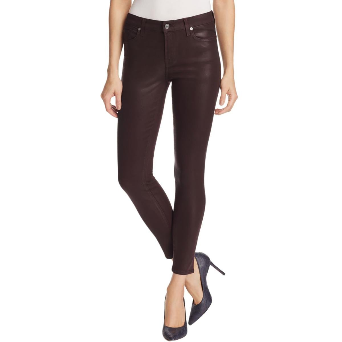 7 For All Mankind Women's The Ankle Skinny in Plum Plum Jeans 27 X 28