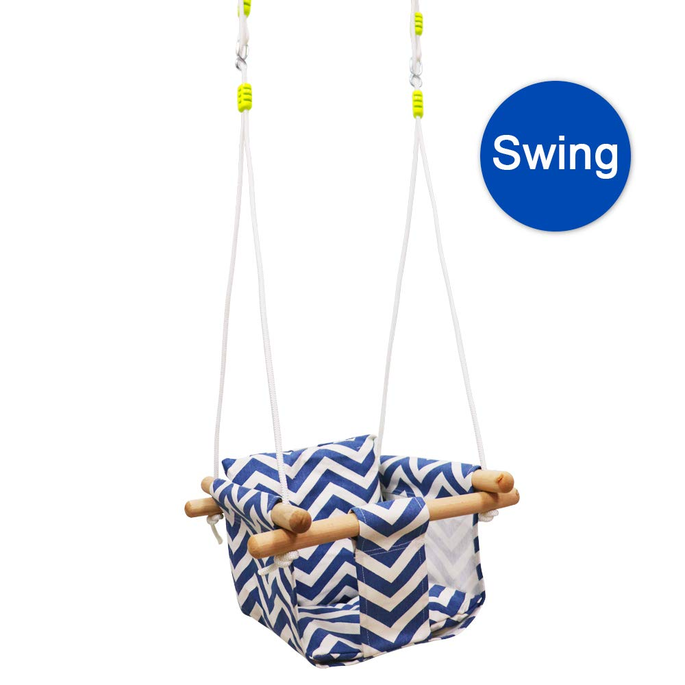 Baby Kids Canvas Hanging Swing with Soft Cotton Cushions,Indoor Outdoor Hammock Swing for Toddler Boys and Girls