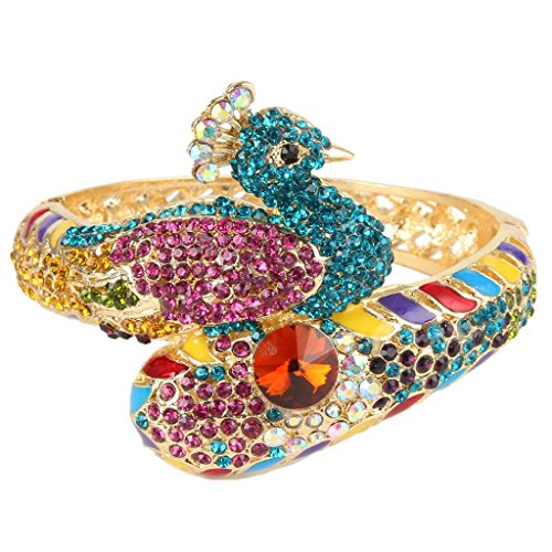 EVER FAITH Women's Austrian Crystal Adorable Animal Peacock Bangle Bracelet Multicolor Gold-Tone