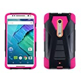 Motorola Moto X Pure Edition Case, Allmet Pink T-Stand Transforma Durable Rugged Impact Protective Phone Case Cover with Built in Kickstand Black For Motorola Moto X Style Pure Edition