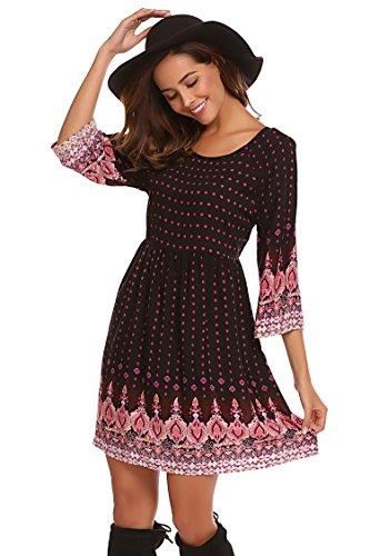 SE MIU Women Long Sleeve Print Bohemian Mini Dress, Black, S