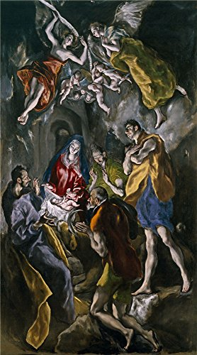 High Quality Polyster Canvas ,the Beautiful Art Decorative Canvas Prints Of Oil Painting 'El Greco Adoration Of The Shepherds 1612 14 ', 8 X 14 Inch / 20 X 37 (Cowboys 14' Art Glass)