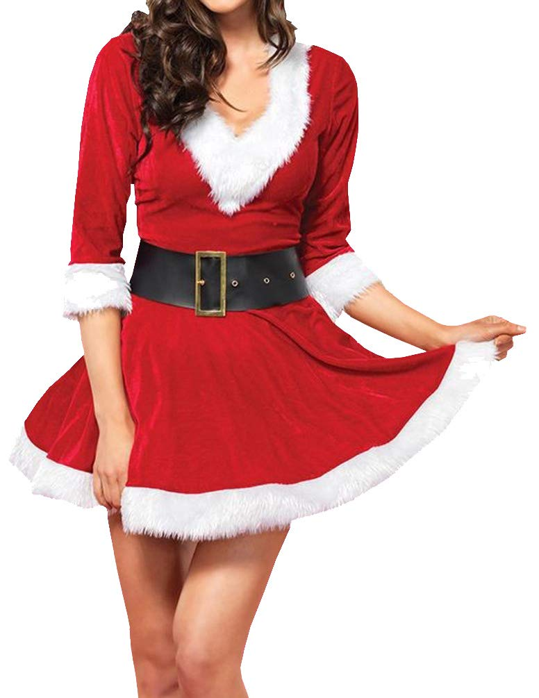 Women Christmas Party Fancy Dress Plus Size Miss Santa Claus Cosplay Costume Xmas Hooded Outfit