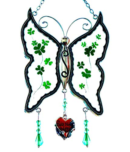(Cos2be Butterfly Suncatcher with Pressed Flower Wings in Glass Ornament for Window Silver Metal Wind Engraved Charm - Gifts for Sister Mom Grandma Birthdays Christmas St.Patrick's Day with Gift Boxes)
