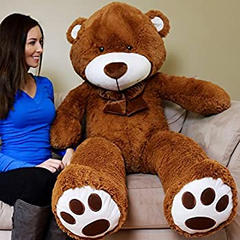 Yesbears 5 Feet Giant Teddy Bear (Brown Color Microfiber Bow tie)