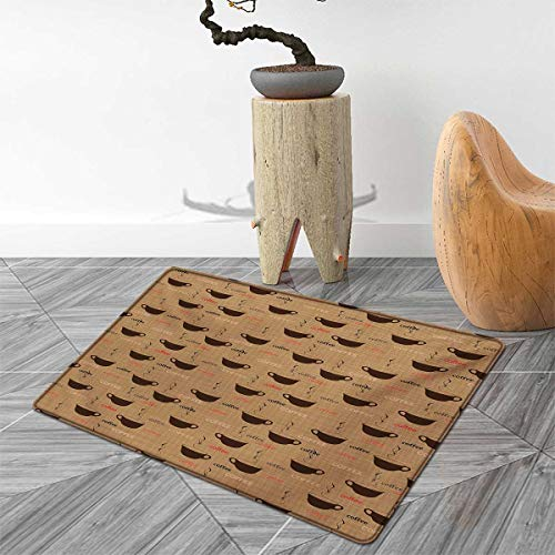Coffee Bath Mats for Bathroom Coffee Cups in Earthen Tones Fresh Espresso Latte Drink Caffeine Image Door Mats for Inside Non Slip Backing 4'x6' Chocolate Pale Brown
