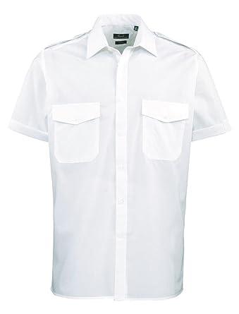 61e72a12b9d6 Premier Herren Pilotenhemd kurzärmelig hellblau Gr. 18  Amazon.de ...