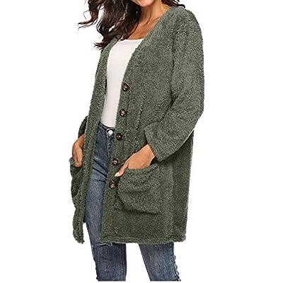 Women's Open Front Fleece Jacket,Sunyastor Winter Warm Cardigan Fluffy Woolen Coat Fashion Outwear with Pocket