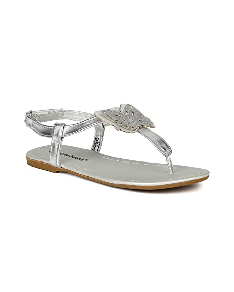 fb9ded7721640f Image Unavailable. Image not available for. Color  JELLY BEANS Leatherette  Glitter Butterfly Thong Ankle Strap Sandal ...