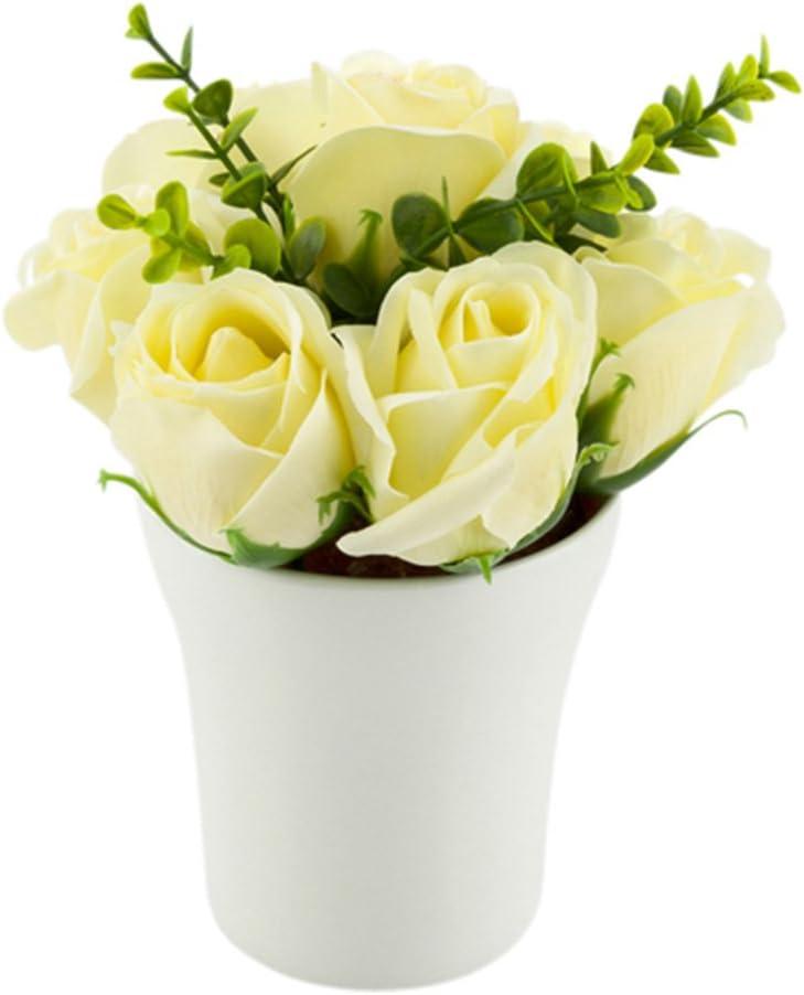 Plastic Pot 8.7-12ct Box Faux Plants Mini Restaurantware 7 Blooms Faux Sapone del Fiore Yellow Roses